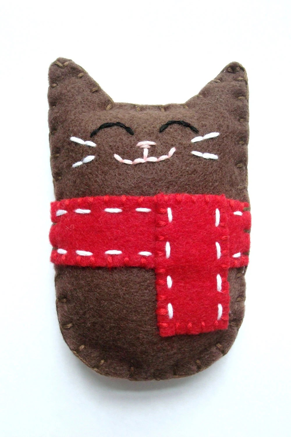 Winter Felt Cat Plush Doll Christmas Felt Animal Made to Order - AmeliaAndBrother