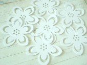 24 WEDDING WHITE Lily Punch Die Cut Embellishments - naissance
