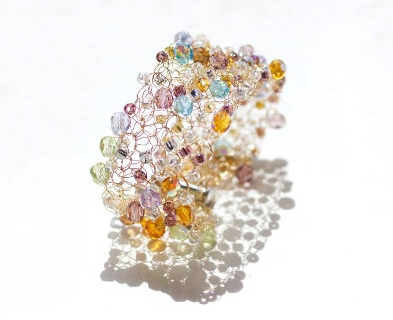 Crystal  Crochet Wire Cuff, Lace  Jewelry Fashion Beadwork  Statement Bracelet, Gold, Purple, Turquoise, Amber - beadedwire