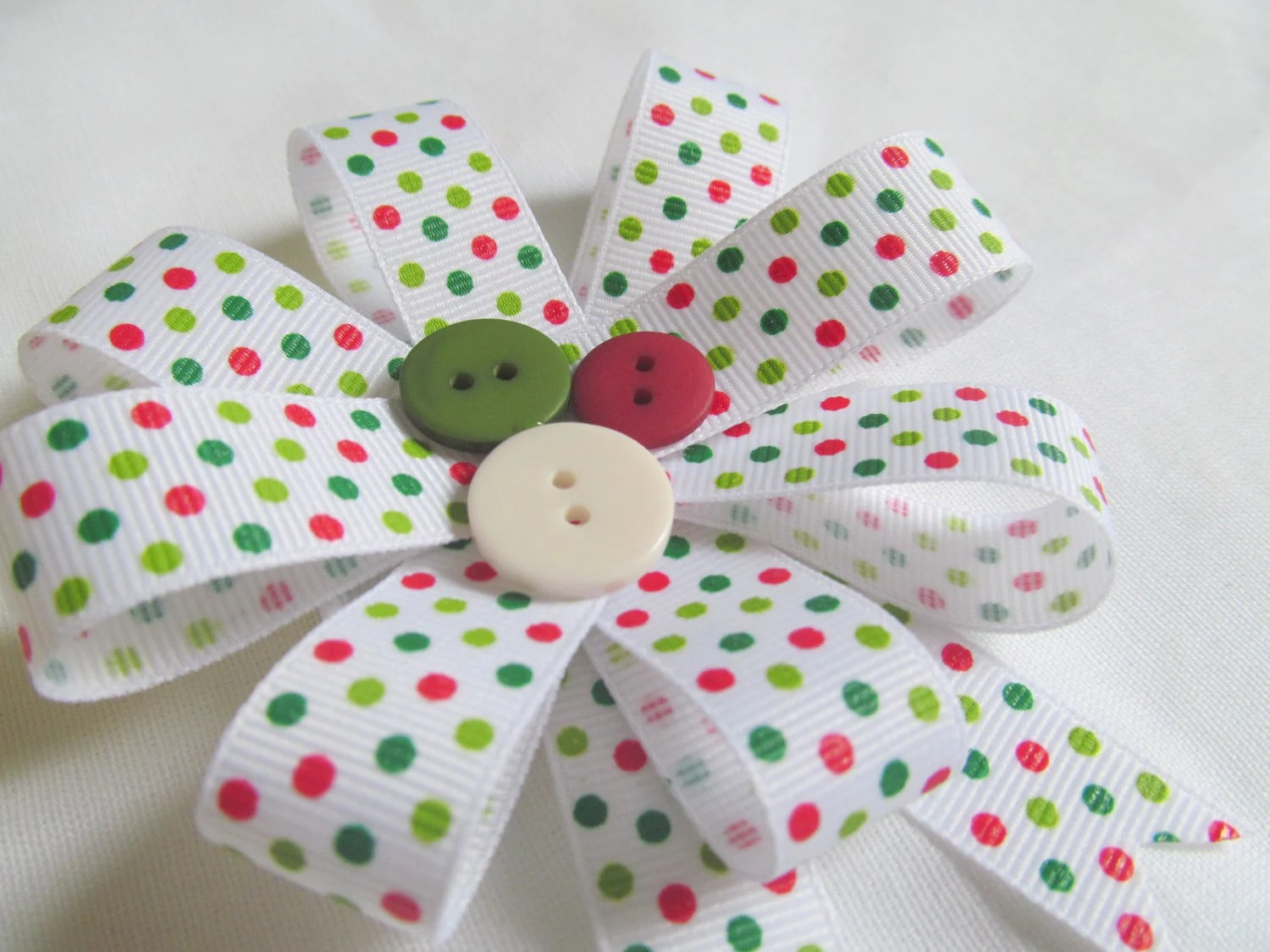 Red, Green, White Polka Dotted Hair Bow