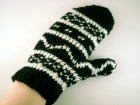 Black and white fairisle mittens , fairisle gloves , black and white gloves , knit black gloves - ismism