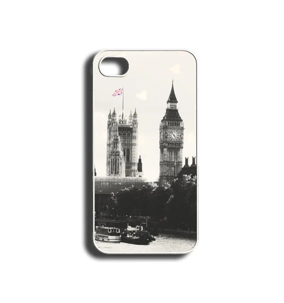 iPhone Case, Big Ben London England iPhone 4 case iPhone 4S case black and white vintage style heart bokeh Union Jack Flag