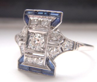 Decadent Vintage Art Deco Engagement or Dress Ring. Baguette Sapphires, Diamonds, 18K White Gold. Quality Ring loaded with Sparkle and Style