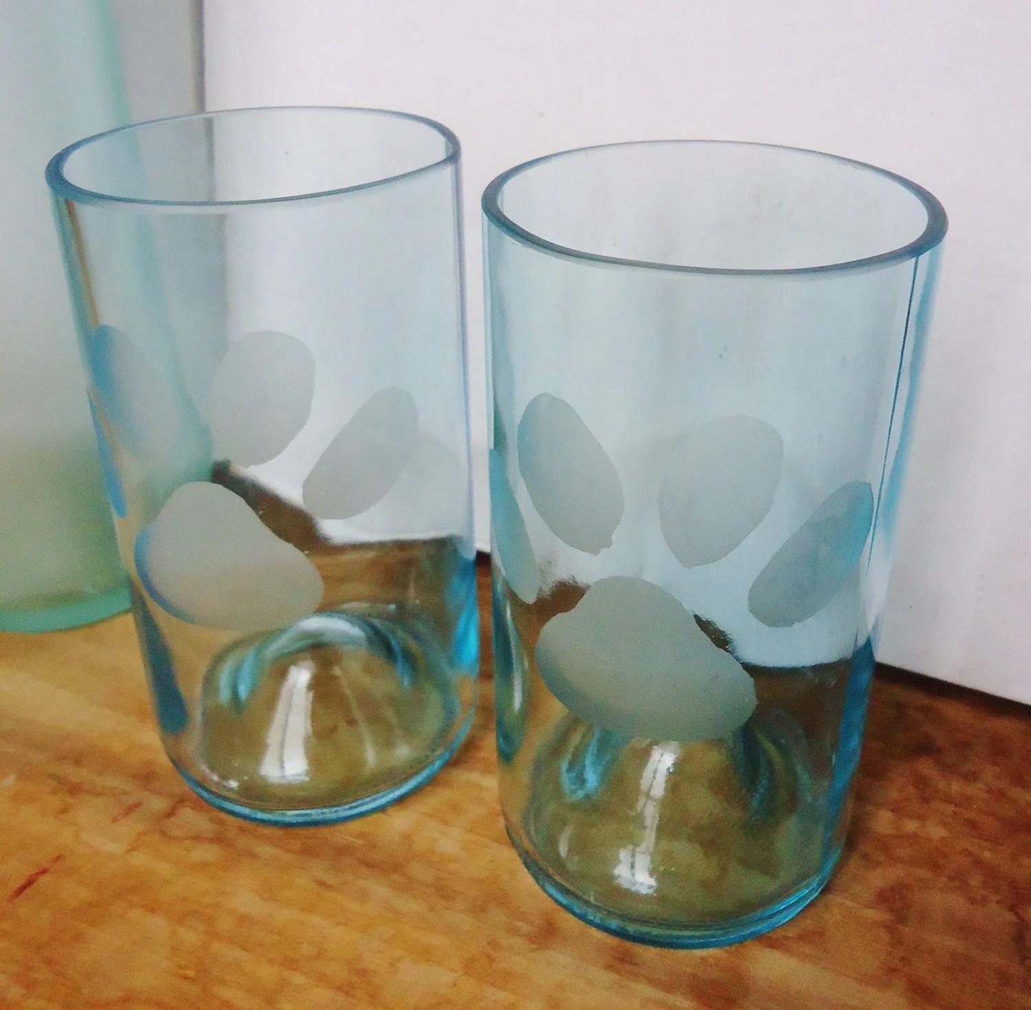 Etched Paw Prints on Recycled Wine Bottles Glasses in Pale Blue Set of 2
