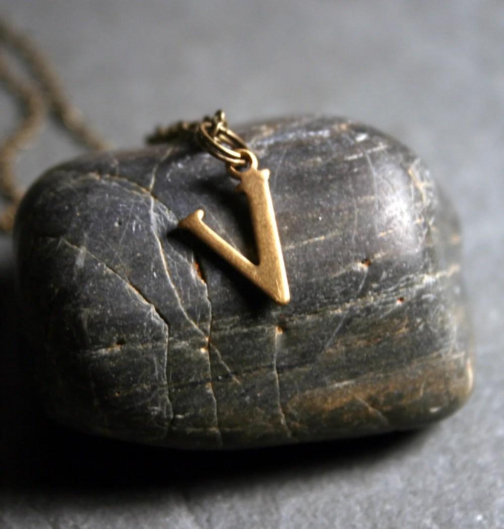 Initial Necklace - Letter V