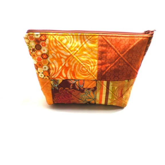 Medium Flat Bottom Zipper Pouch - Orange and Yellow Patchwork - SewDarnSimple