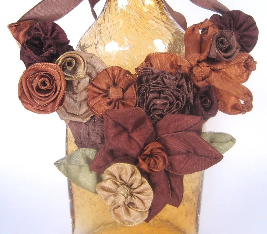 Autumn bib statement necklace: French ribbon flowers in fall hues -- a beautiful gift for her (or you)