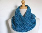Bright Blue Twisted Cowl scarf neck warmer--Ready to ship - foundbymarie
