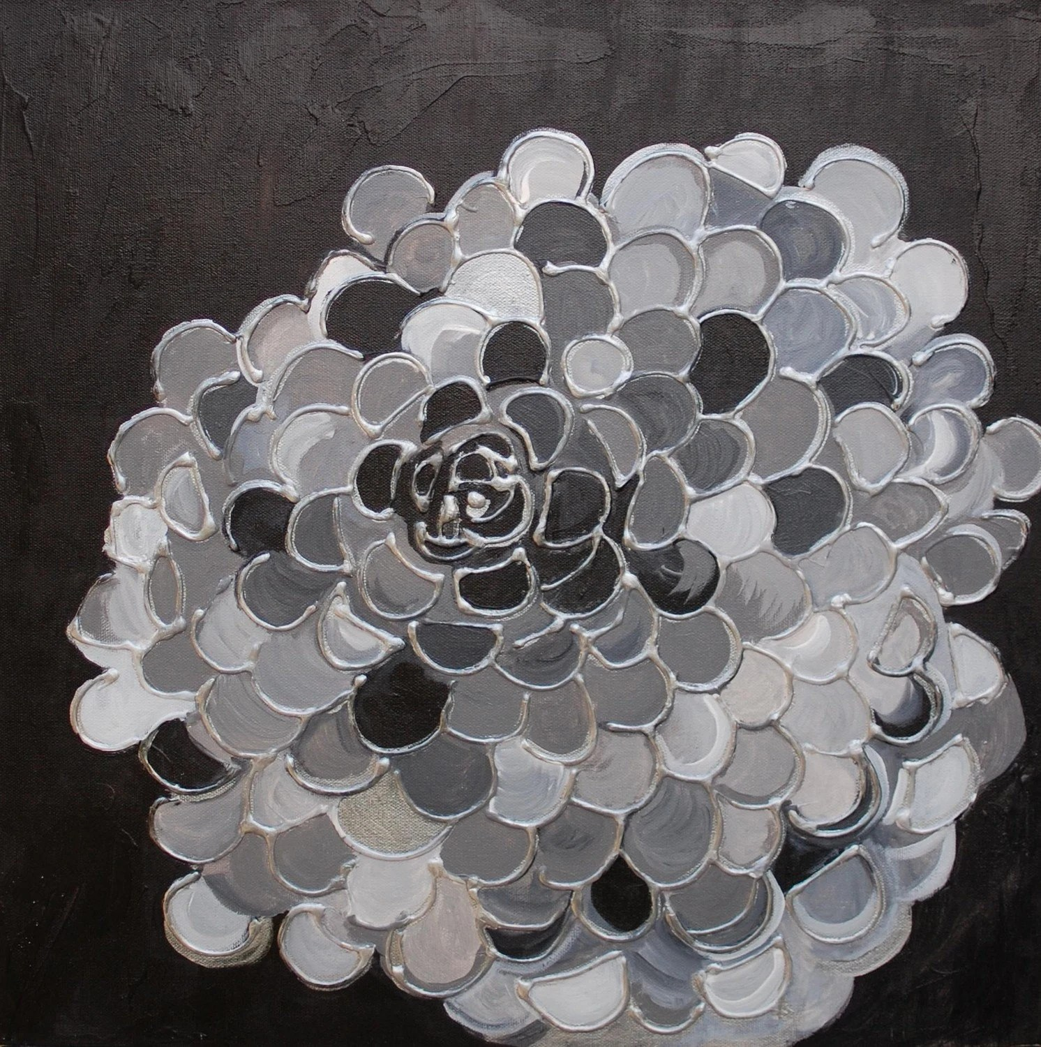 "MARIGOLD Abstract Original painting 18""x18"" COMMISSION black gray silver flower textured painting by devikasart on Etsy - devikasart"