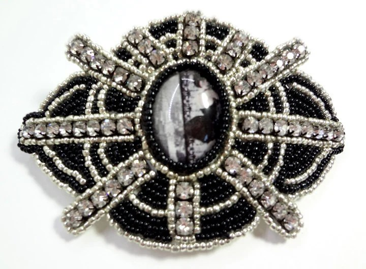 After Midnight - Unique Rhinestone Silver and Black Hair Barrette - MegansBeadedDesigns
