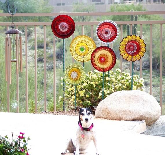 Jardim Vermelho Arte Quintal decoração placa de vidro Chic feriado flor gasto Upcycled MARIA Repurposed