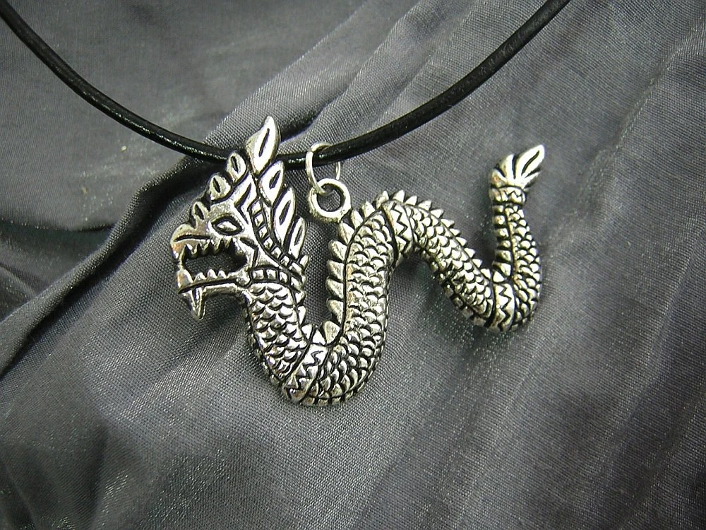 Large Silver Serpent Dragon Simple Charm Necklace on Silver Chain - Handmade by Rewondered D225N-00962 - $9.95