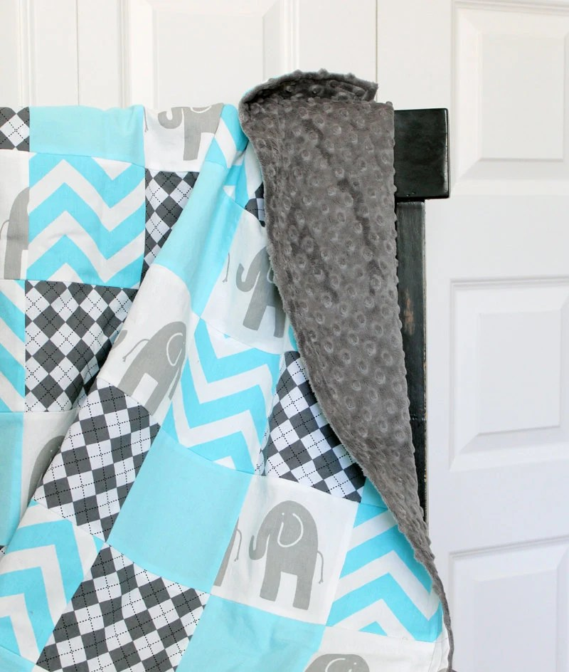 Custom baby bedding - Grey and Aqua 4