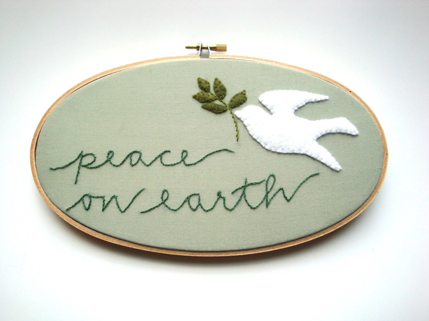 Hand embroidery hoop decor peace on earth Christmas holiday new year art - jenniferallevato