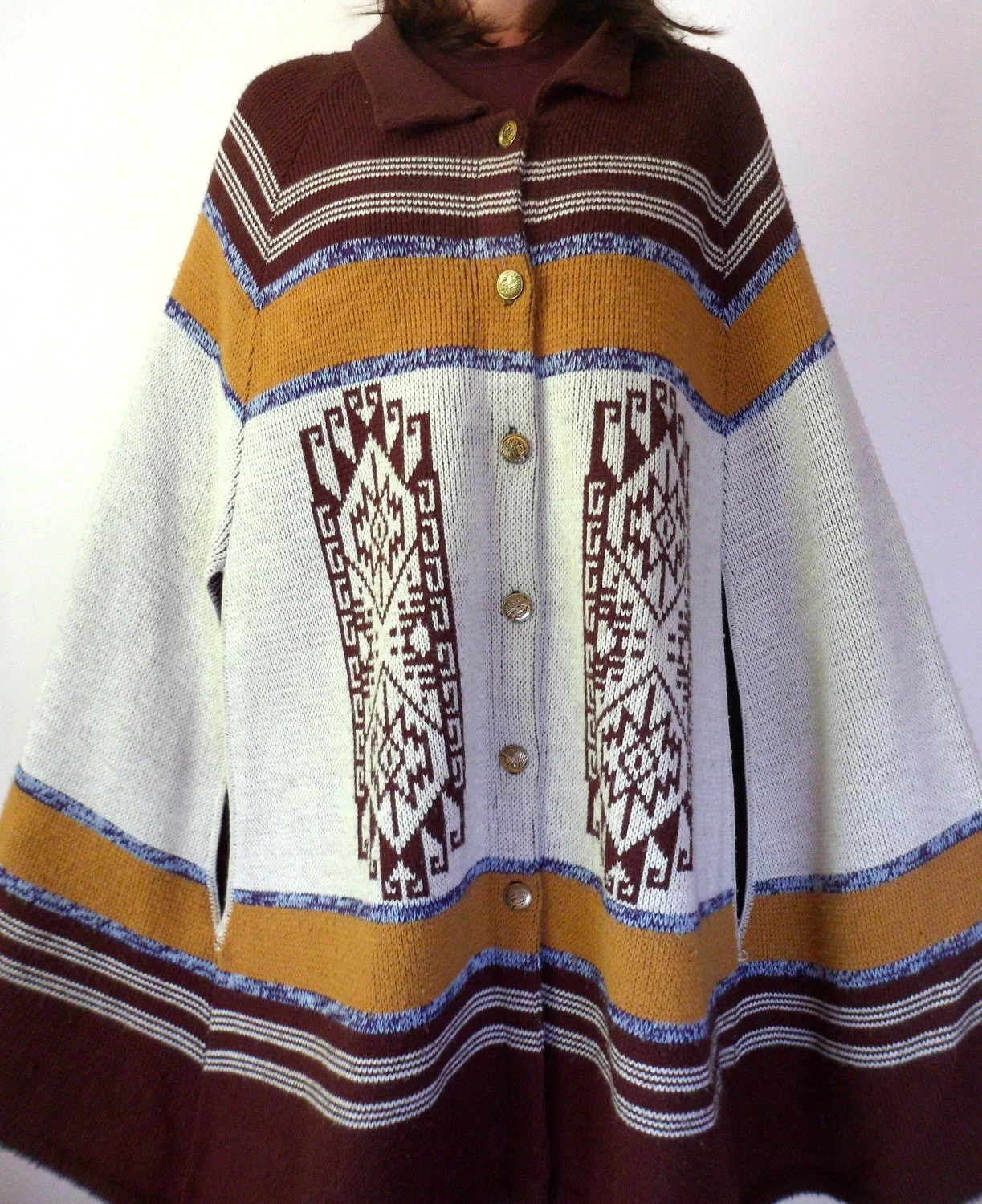 Vintage 60's 70's Ethnic Cape Coat // Native American Poncho Sweater