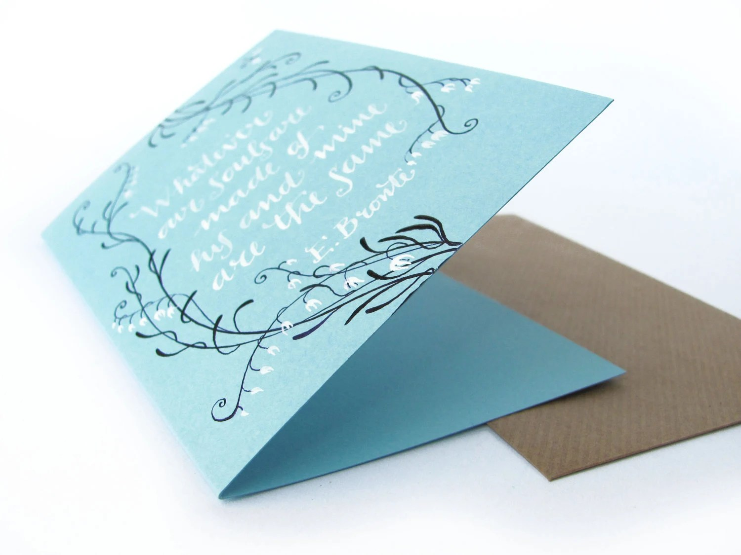 Wuthering Heights quotation hand painted light blue card - whatever our souls are made of - PemberleyPond