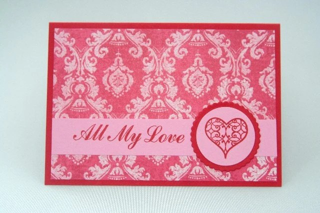 All My Love Red Filigree Heart Valentines, Wedding, Anniversary Card - LaurasPaperCreations