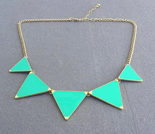 5 triangle necklace/fashion/geometry necklace/bib necklace/gift for valentines day christmas/neo GREEN