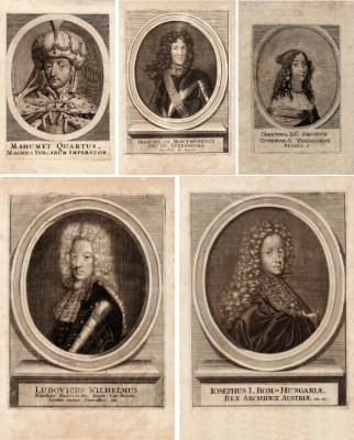 MaxAndCoPost antique etching postcards - 16th century royalty