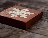 "Hand-Painted, Reclaimed Wood Tiles - Black Letters ""CHRISTMAS"" and White ""Snow Flake"" - thewoodsmanshop"