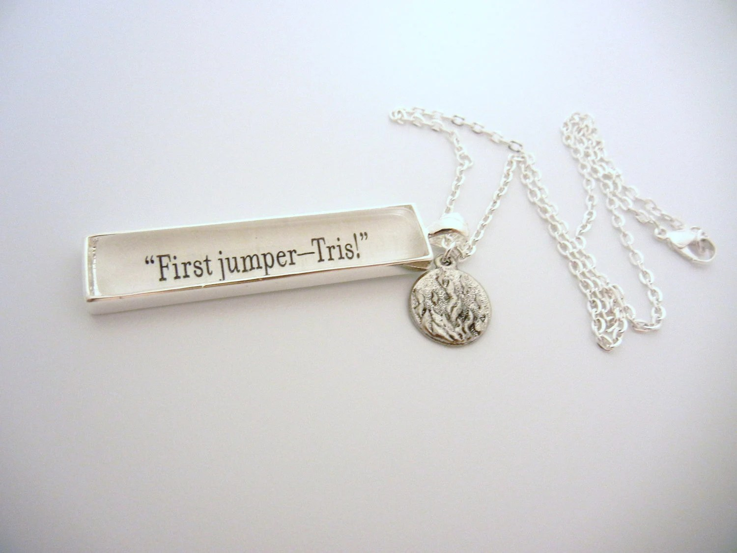 "Divergent ""First jumper, Tris"" fancy book charm Quote Necklace"