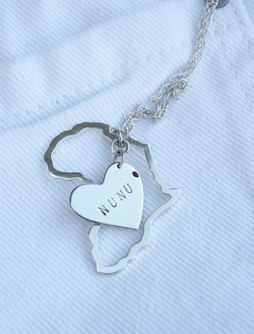 Africa map and heart pendant Africa charms personalized hearts mommy necklace