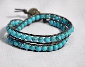 Turquoise Beaded Wrap Bracelet on Dark Brown Leather