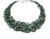 Winter Collar Necklace Green Lacy Boho Statement Wire Art Jewelry - elbowsdesigns