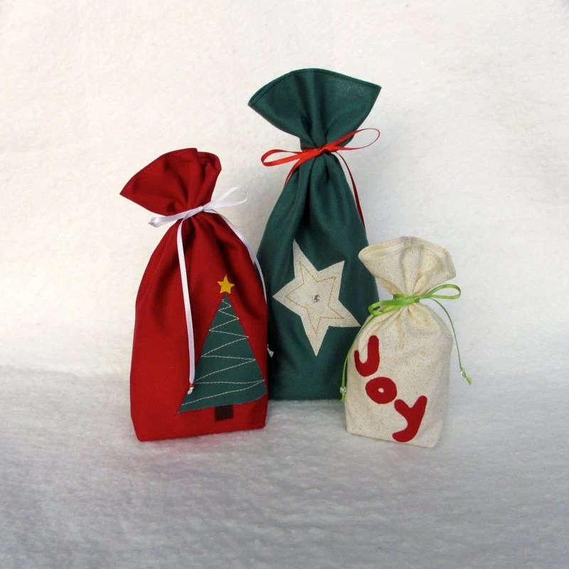 Reusable Gift Bag, Fabric Gift Bag, Christmas Gift Bag