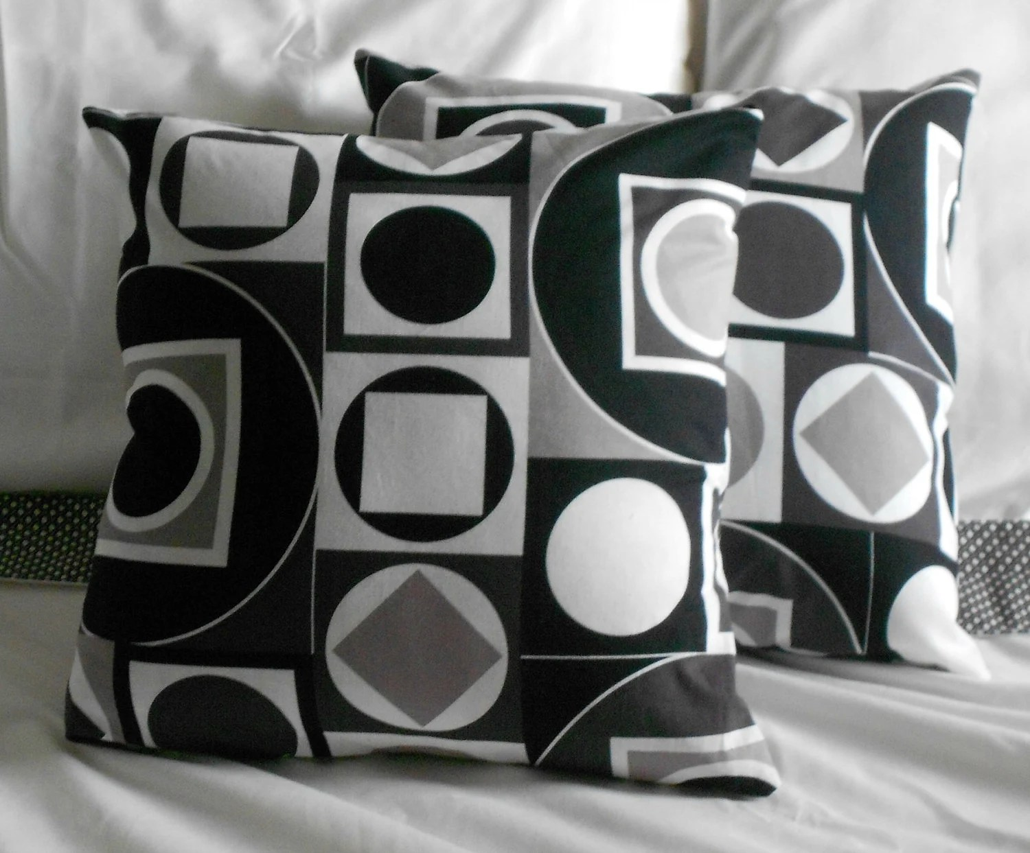 Black Pillow Covers Geometric Print White Grey Taupe Design 16 inch