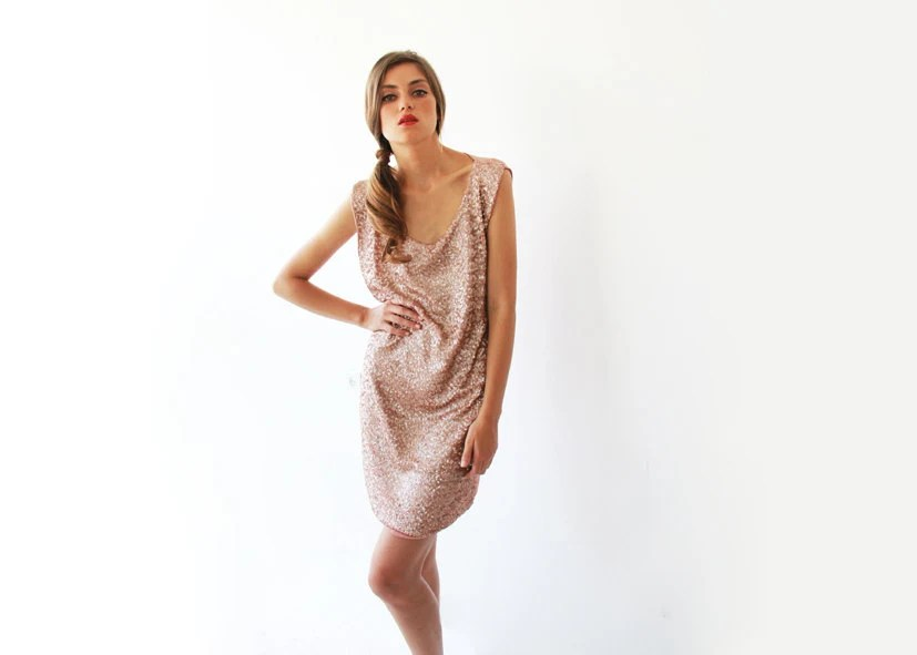 New Year Special Glamorous mini dress. Pink sequin dress.