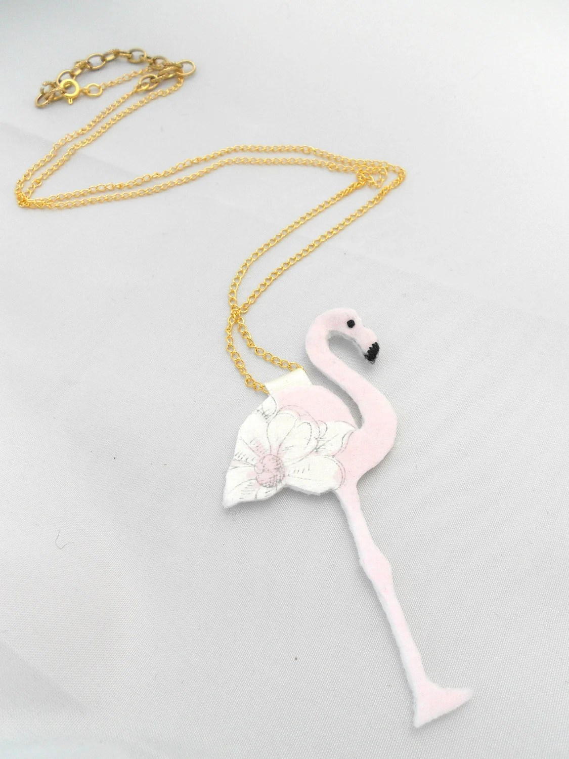 Flamingo Necklace Felt Jewellery Long Chain