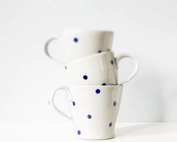 Ceramic pottery mug with polka dots - handmade pottery grey gray indigo cobalt blue - modern ceramic three cup set - thecupcakekid