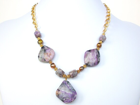 Charoite necklace, purple gemstone necklace with pearls, vintage gold chain, charoite focal pendant