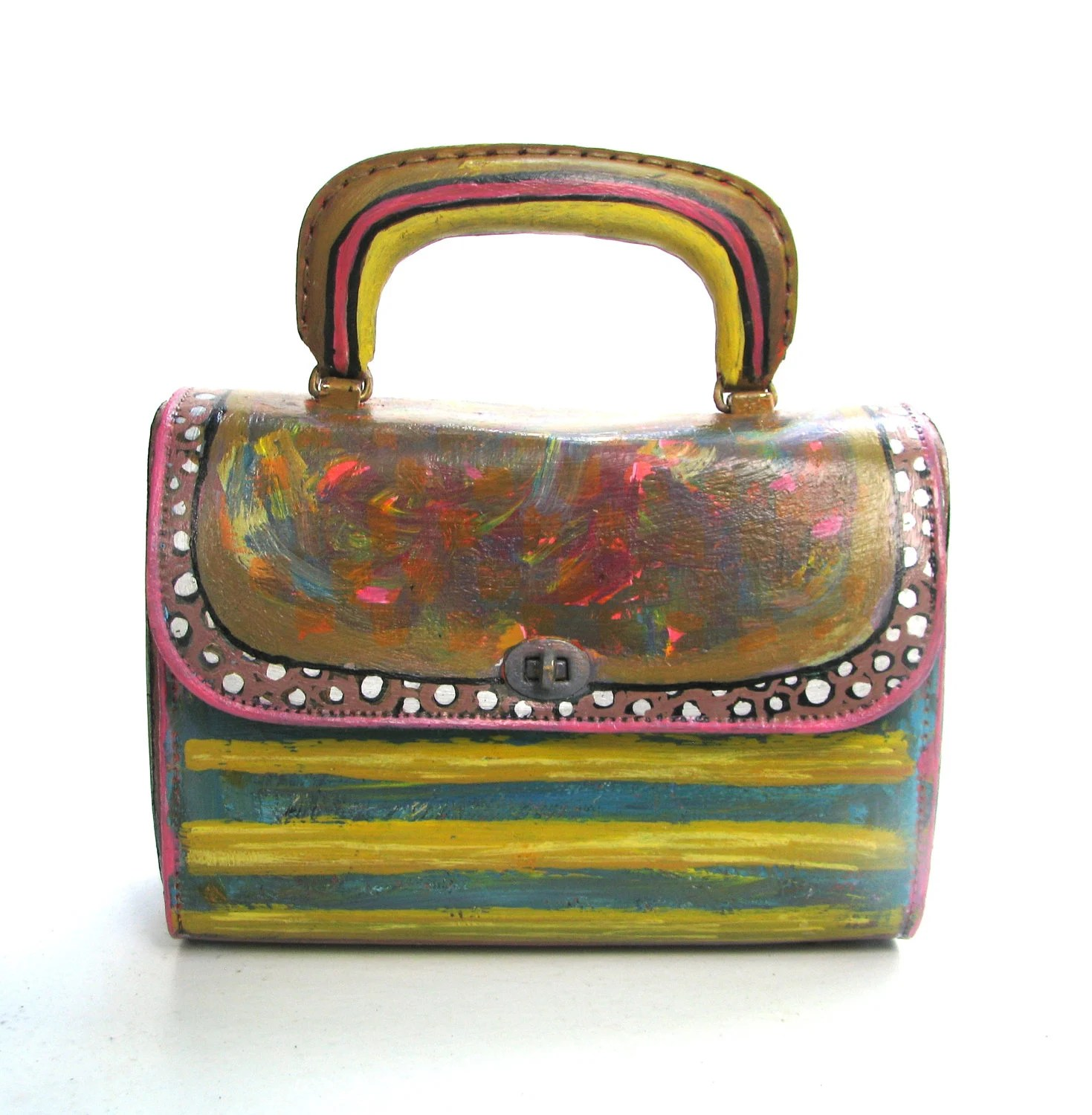 Handbag Vintage Vinyl Handpainted in Fall Colors, Upcycled Purse Indian Summer - itzaChicThing