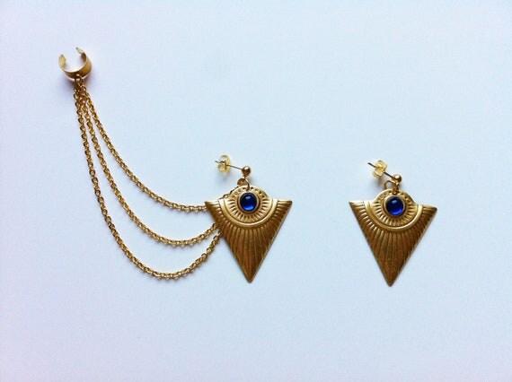 Tribal Ear Cuff Earrings- Sapphire Gold Triangles
