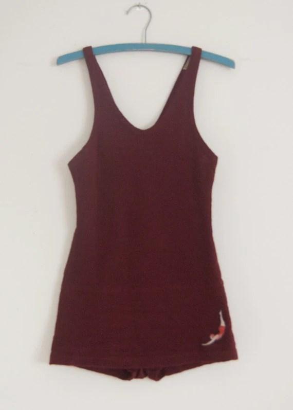 1920s Jantzen burgundy wool men's swimsuit 40