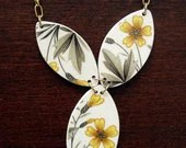 Yellow Flowers Necklace - Recycled China - Material and Movement - materialandmovement