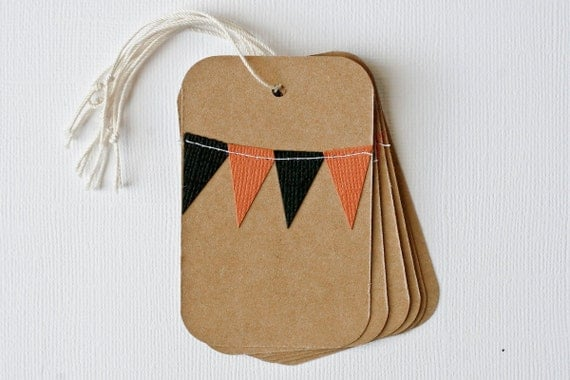 Halloween Favor Tags with Bunting Flags in Orange and Black
