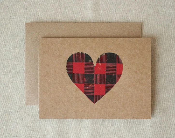 VALENTINE CARD  - Buffalo Plaid Heart Linocut - 618love
