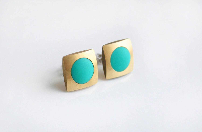 Turquoise Geometric stud earring - square