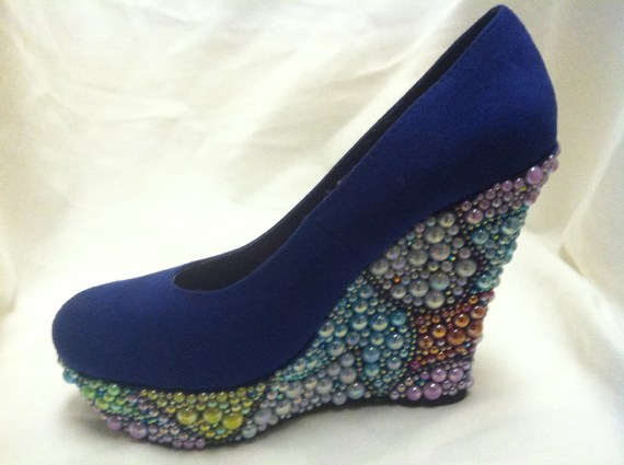Rainbow Pearl Wedges With Irredescent Rhinestones - EWeekesDesigns