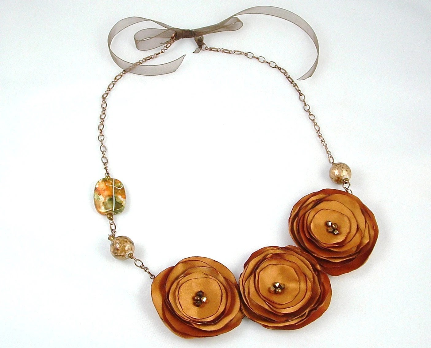 Granite Dark Gold Flower Fabric Necklace with glass beads and copper metal chain - GoodLuckWishes4U