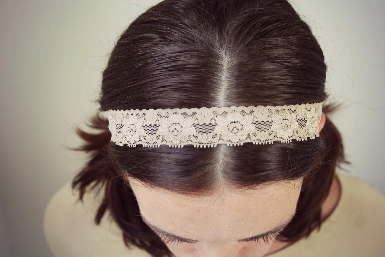 Floral lace headband, cream boho headband, stretch lace - LilacCadillac