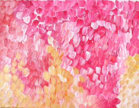 "Art Original Acrylic Painting ""Banff Poppies and Roses""  Pinks and Gold Painting on Canvas - GildedMint"