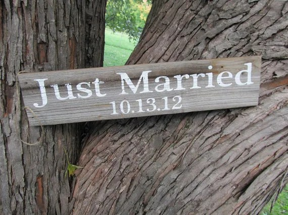 just married sign etsy