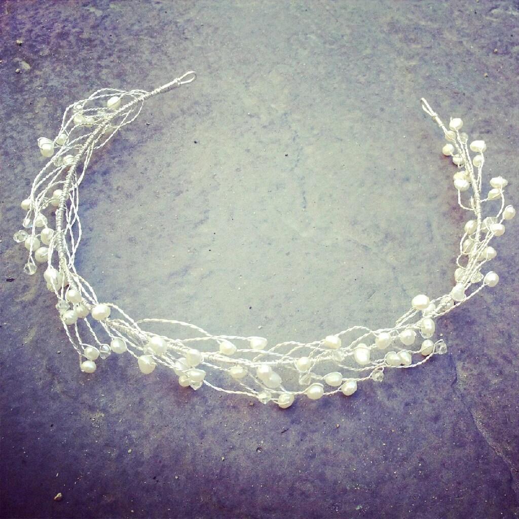 Freshwater pearl and Swarovski crystal bridal wreath headband