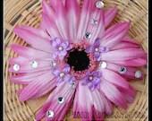 Pink Hair Flower, Prom Flower, Wedding Head Piece, Silk Hair Flower, Adult Hair Flower