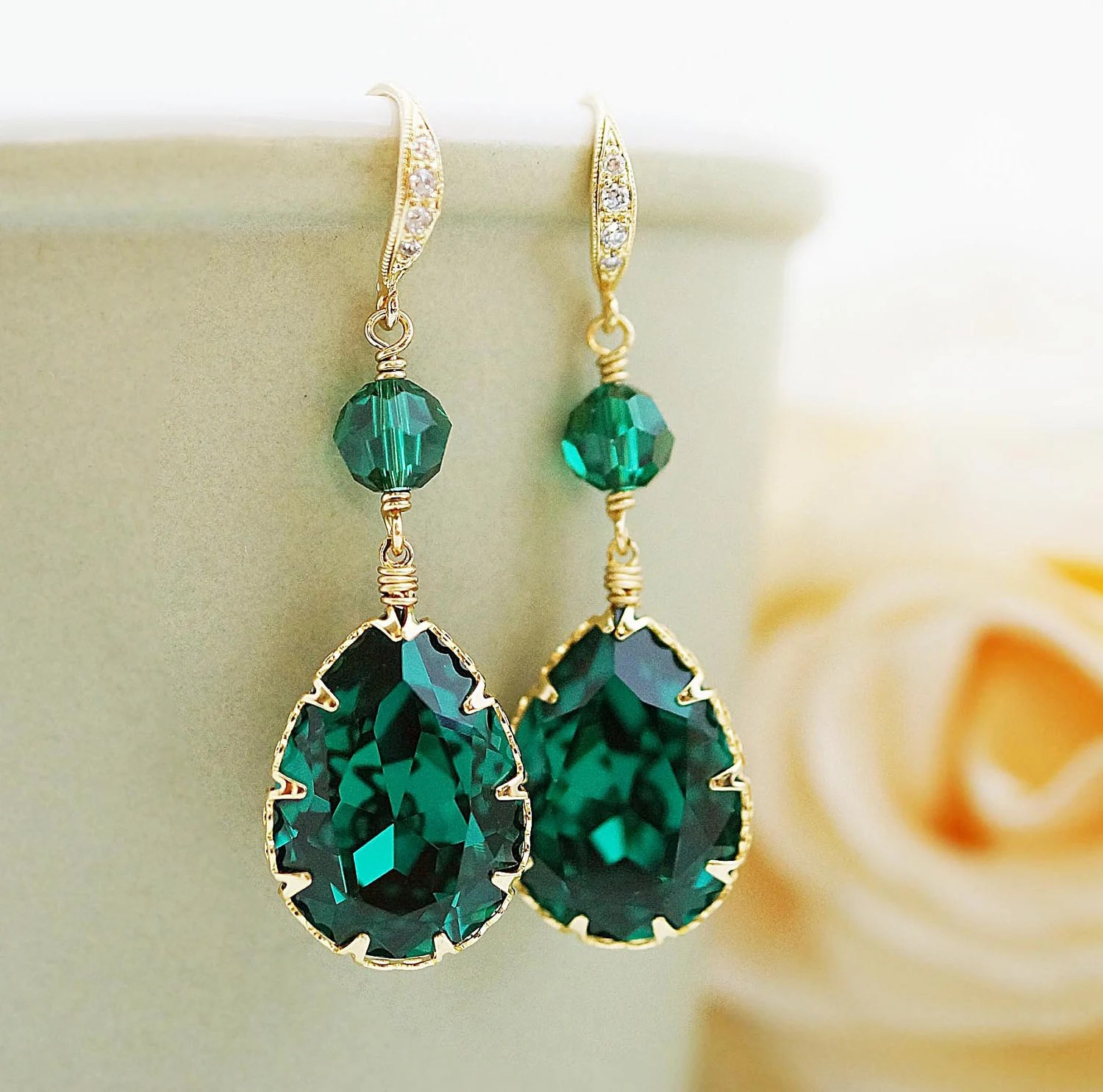 Wedding Bridal Jewelry Bridal Earrings Bridesmaid Earrings Cubic zirconia earrings with Emerald  Swarovski Crystal Earrings