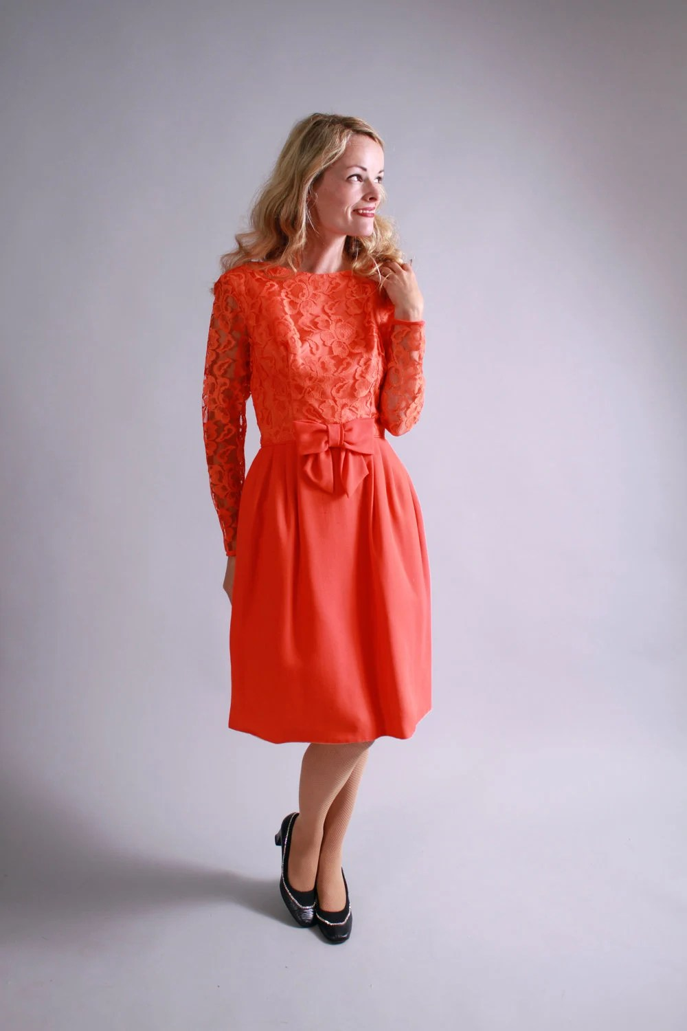 1960s dress / 60s orange lace party dress / fall autumn vintage halloween fashion
